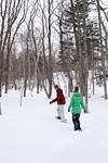 雪の上を歩くカップル