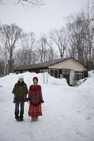 雪道の女性