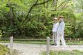 タイトル:遊歩道を歩くシニア夫婦