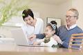タイトル:孫とノートパソコンで遊ぶ祖父母