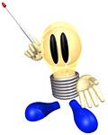 指示棒を持つ電球