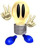 Vサインをする電球