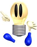 指を差す電球