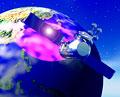タイトル:人工衛星と地球(CG)