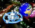 タイトル:宇宙ステーションと地球(CG)
