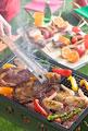 タイトル:バーベキューコンロでバーベキューを焼く