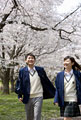 タイトル:桜と高校生カップル