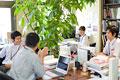 タイトル:緑のあるオフィス空間で働く人々
