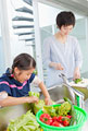 タイトル:野菜を洗う母と娘
