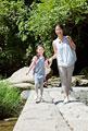 タイトル:渓流の橋を渡る母親と娘