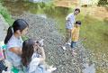 タイトル:川辺で記念撮影をする家族4人