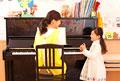 タイトル:ピアノを弾く保育士と女の子