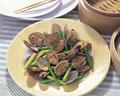 タイトル:アサリとニンニクの芽のピリ辛炒め