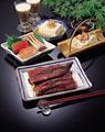 タイトル:夏の料理5種(鰻・そうめん・冷奴・刺身・ビール)