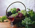 タイトル:3種類のブドウとワイン(巨峰・デラウエア・マスカット)