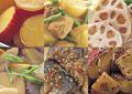 タイトル:秋野菜を使った惣菜イメージ・コラージュ