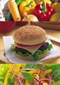 タイトル:ハンバーガーのイメージ・コラージュ