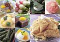タイトル:和菓子の集合イメージ・コラージュ
