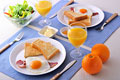 タイトル:パンとベーコンエッグの朝食