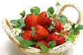 タイトル:かごに盛られたイチゴ(さちのか)