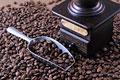 タイトル:コーヒー豆とコーヒーミルとスクープ