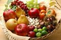 タイトル:秋の果物集合(リンゴ・梨・洋梨・ブドウ・柿・栗・銀杏・ザクロ・スダチ)