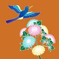タイトル:小鳥と菊