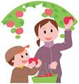タイトル:リンゴ狩りをする親子