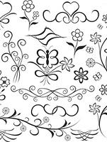 Elements for design (flower, butterfly, heart), vector