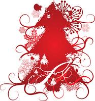 Grunge Christmas tree background, vector illustration