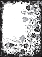 Grunge floral frame, vector