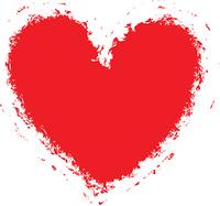 Grunge heart background (frame, border), vector