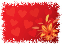 Valentines grunge background with hearts, vector