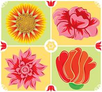 Floral background, icon set, illustration