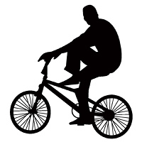 Bicycle rider silhouette isolated on white