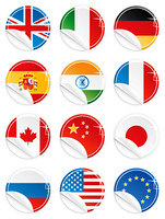 Vector illustrations of 12 national flag/emblem buttons/tags/icons in glossy modern style with peel effect: UK, Italy, Germany, Spain, India, France, Canada, China, Japan, Russia, USA and EU.