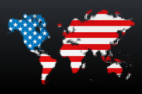 Vector illustration of a modern popular halftone design made from the map of the world. American flag concept.