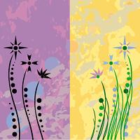 Retro flowers grunge vector illustration