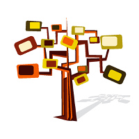 Artistic retro tree in trendy colours, vector illustration