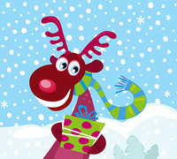 Cute Rudolph with christmas present. Vector Illustration.