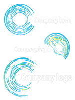 Vector illustration of three highly detailed abstract company logos.