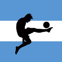 vector illustration of a football player with argentinian flag in background