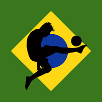 vector illustration of a football player with brazilian flag in background