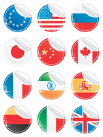 Vector illustration of 12 beautiful modern sticky peeling national icons. EU, USA, Russia, Japan, China, Canada, France, India, Spain, Germany, Italy and United Kingdom.