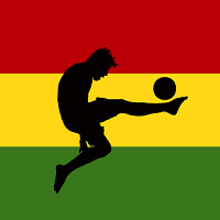 vector illustration of a football player with ghanaian flag in background