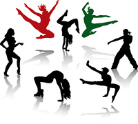 Silhouettes of the modern dancer.