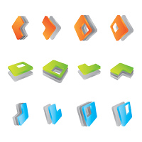 set of 3D icons, vector illustration
