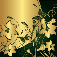 The stylised flowers and leaves with flying butterflies on a gold and green background