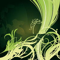 Green sea wave in a vegetation environment on darkly green background