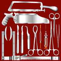Surgical tool set in stainless steel texture - vector illustrations